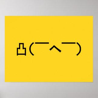Japonés enojado Kaomoji del Emoticon del dedo Póster