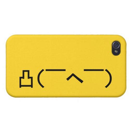 Japonés enojado Kaomoji del Emoticon iPhone 4 Cárcasas