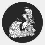 Japonés Etiquetas Redondas
