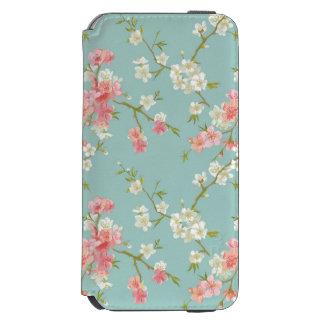Japonés, flor de cerezo, trullo, blanco, rosa, funda cartera para iPhone 6 watson