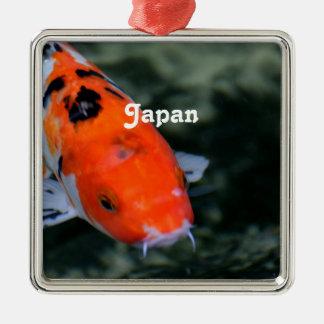 Japonés Koi Adorno Cuadrado Plateado