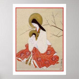 Japonés Madonna y vintage del niño Poster