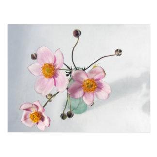 Japonés rosado Anenomes en un florero verde Postal