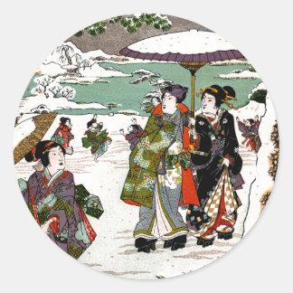 Japonés Snowscape Pegatina Redonda