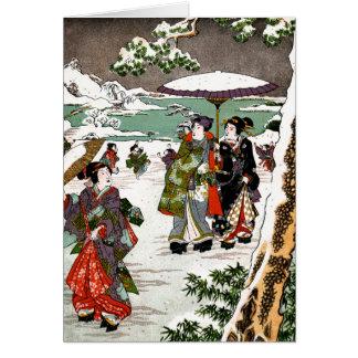 Japonés Snowscape Tarjeta De Felicitación
