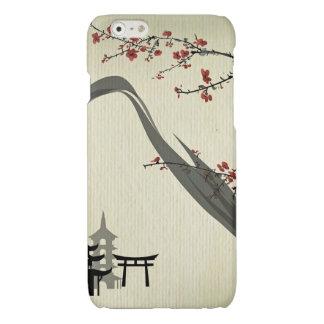Japonés, vintage, flor de cerezo, color de agua,