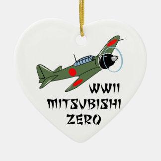Japonés Warbird de WWII Adorno Navideño De Cerámica En Forma De Corazón