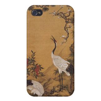 Japonés Woodblock de las grúas iPhone 4/4S Carcasas