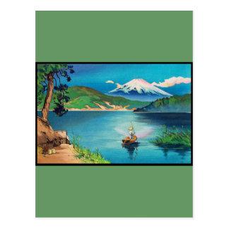 Japonés Woodblock del monte Fuji - hermoso Postal