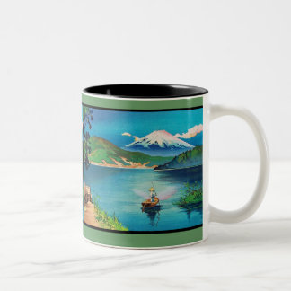 Japonés Woodblock del monte Fuji - hermoso Taza De Dos Tonos