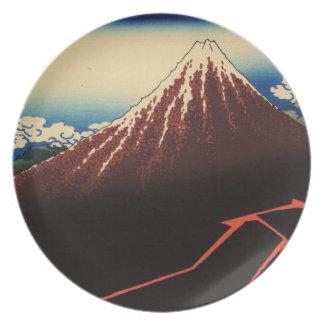Japonés Woodblock Relámpagos debajo de la cumbre Platos