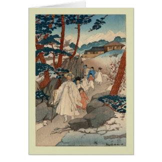 Japonés Woodblock Tarjeta De Felicitación