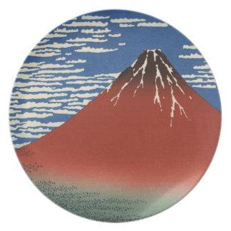 Japonés Woodblock: Viento meridional rojo de Fuji Plato De Cena