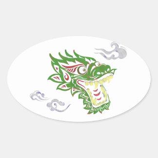 Japonias dragon oval sticker