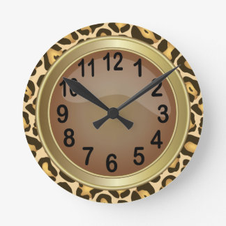 Jaquar Animal Print with Brown Round Clock