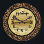"""Jaquar Animal Print with Gold Scribble Design Large Clock<br><div class=""""desc"""">Makes a great gift for the home or office.  Made with high resolution vector graphics for a professional print.  If you have any questions about this product please contact me at siggyscott@comcast.net.  I&#39;ll be happy to help. Thank you for the support and stopping by my store!</div>"""