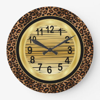 Jaquar Animal Print with Gold Scribble Design Large Clock