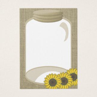 Jar and Sunflower Wedding Shower message Business Card