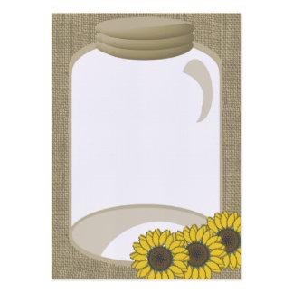 Jar and Sunflower Wedding Shower message Business Card Templates