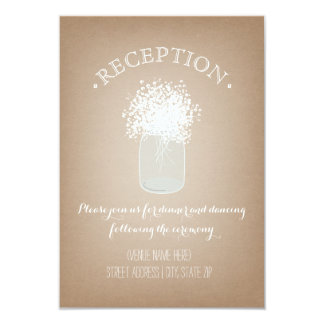 Jar of Baby's Breath Cardstock Inspired Reception Card
