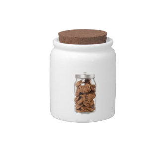 Jar of chocolate chip cookies candy dishes