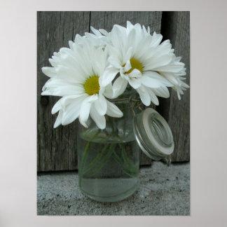 Jar Of Daisies & Barn Wood Poster
