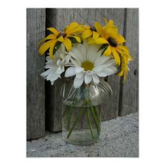 Jar Of Daisies & Black Eyed Susans Poster