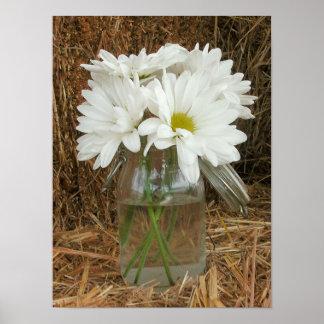 Jar Of Daisies & Hay Poster