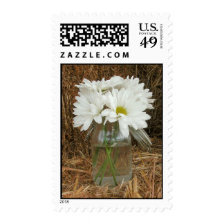 Jar Of Daisies On a Bale Of Hay Stamp