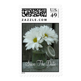 Jar Of Daisies Wedding Save The Date Stamps