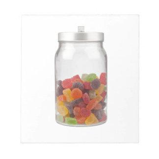 Jar of gummy candy notepads
