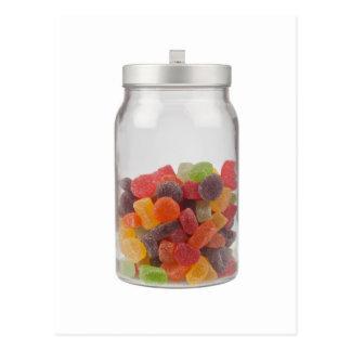 Jar of gummy candy post card