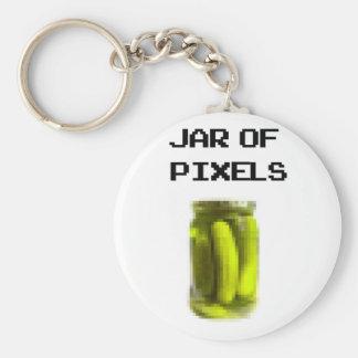 Jar of pixels basic round button keychain