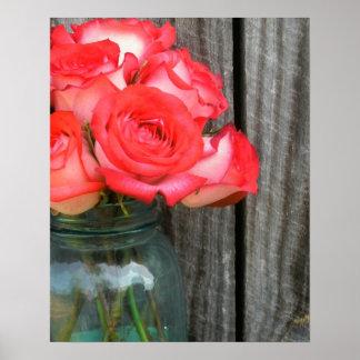 Jar of Roses | Rustic Barn Wood Poster