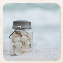 Jar Of Seashells On The Beach | Florida Square Paper Coaster