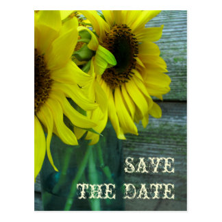 Jar Of Sunflowers Barnwood Fall Save The Date Post Cards