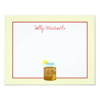Jar Of Sweet Iced Tea With Lemons Flat Notecards
