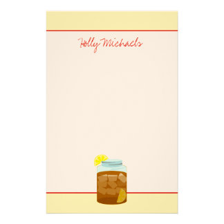 Jar Of Sweet Iced Tea With Lemons Personalized Stationery