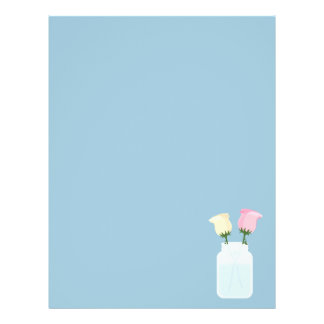 Jar with Flowers Modern Roses Baby Blue Flyer