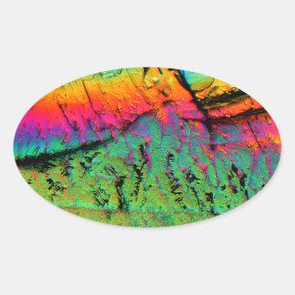 jarabe de arce debajo de un microscopio pegatina ovalada
