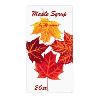 Jarabe de arce - hojas de arce que conservan la etiqueta de envío