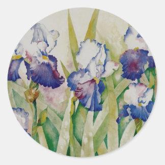 jardín 2 del iris pegatina redonda