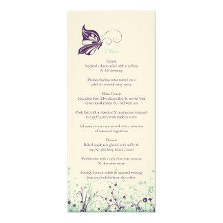 Jardín 9 de la mariposa del ~ del menú invitación 10,1 x 23,5 cm