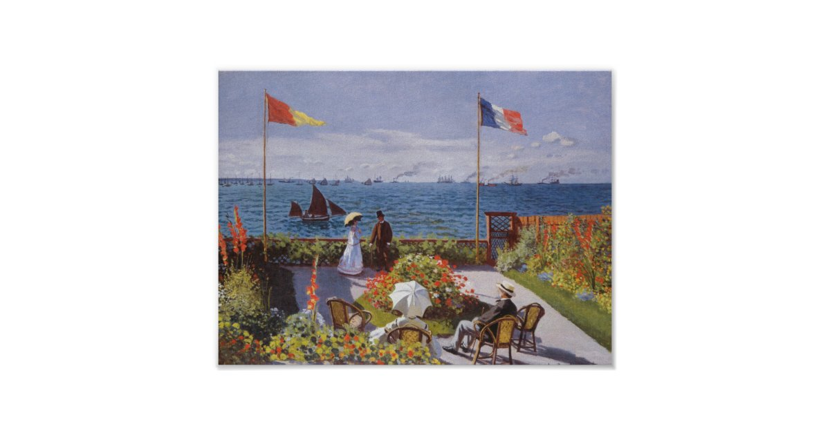 jardin a sainte adresse by claude monet poster zazzle. Black Bedroom Furniture Sets. Home Design Ideas