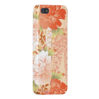 Jardín abstracto de la crema y de los peonies rojo iPhone 5 funda