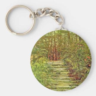 Jardín americano llavero redondo tipo pin