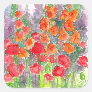 Jardín anaranjado de la acuarela de la flor de pegatina cuadrada