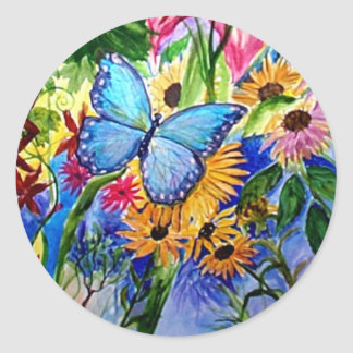 Jardín azul de la mariposa pegatinas redondas