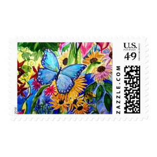 Jardín azul de la mariposa sellos