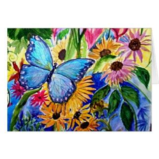 Jardín azul de la mariposa felicitaciones